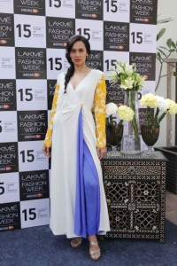 Sonalika Sahay in Ivory, Yellow & Indigo Blue Dress paired with Indigo Blue Palazzos